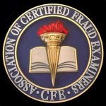 Seal of the Association of Certified Fraud Examiners. Blue circle with the organization name with an open book in the middle overlaid with an Olympic style torch.